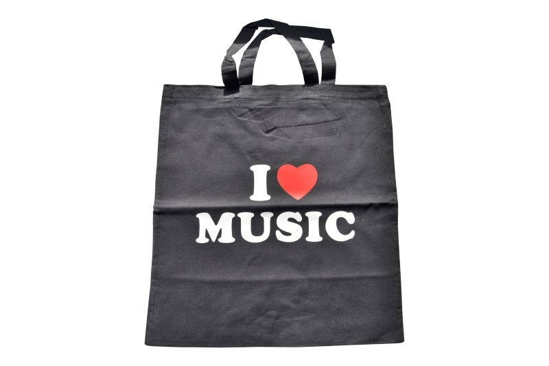 Muziektas I Love Music zwart