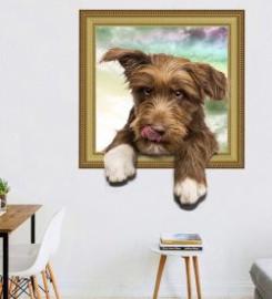 muursticker hondje uit raam