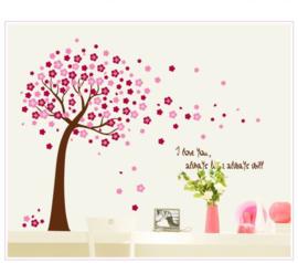 Muursticker boom roze