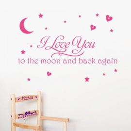 Muursticker Love you to the moon and back again