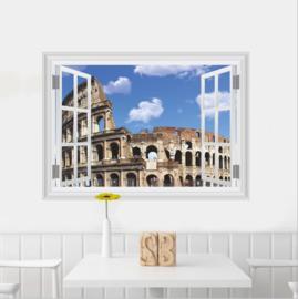 Muursticker raamview Rome Colosseum
