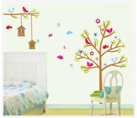 Muursticker vogeltjes in boom