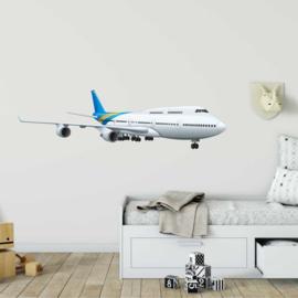 Muursticker vliegtuig in de lucht