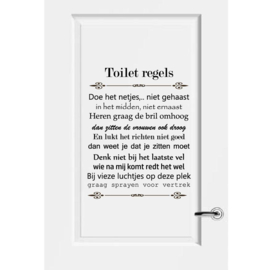 Muursticker, deursticker WC,  Toilet regels