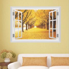 Muursticker raamview herfst laan