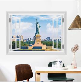 Muursticker raamview Vrijheidsbeeld New York