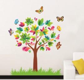 Muursticker boom met vogels en vlinders