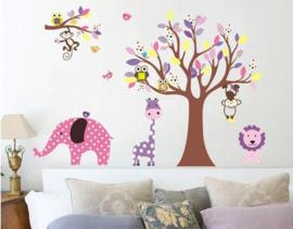 Muursticker boom met wilde dieren