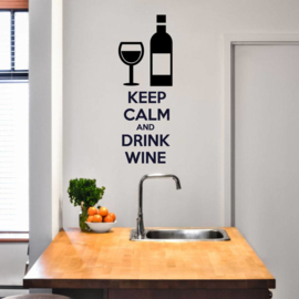 Muursticker Keep calm and drink wine