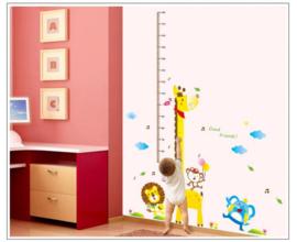 Muursticker groeimeter giraffe