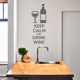Muursticker Keep calm and drink wine