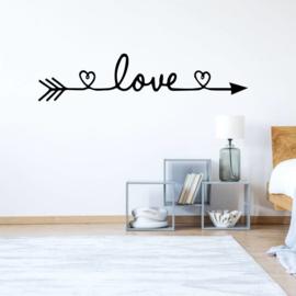 Muursticker Love met hartje en pijl