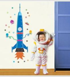 Muursticker blauwe raket