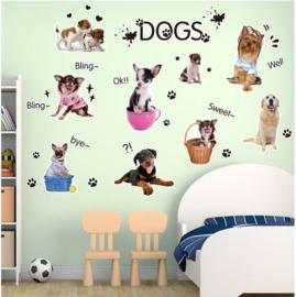 Muursticker Dogs kleine hondjes