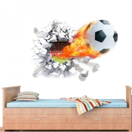 Muursticker voetbal met vlam