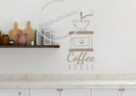 Muursticker 'ouderwetse koffiemolen'
