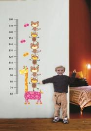 Muursticker groeimeter met giraffe en beertjes