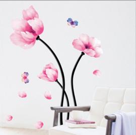 Muursticker roze bloem op steel