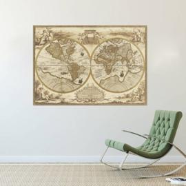 Muursticker wereldkaart nostalgisch