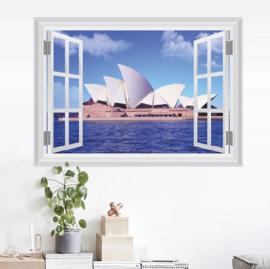 Muursticker raamview Sydney Opera House