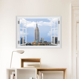 Muursticker raamview Empire State Building New York