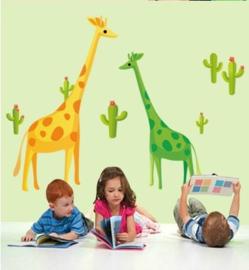 Muursticker met giraffes