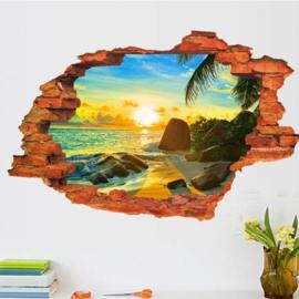 Muursticker met strand en ondergaande zon