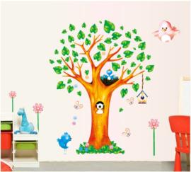 Muursticker boom met nestje vogeltjes