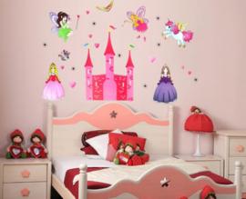 Muursticker kasteel met elfjes en prinsessen