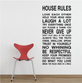 Muursticker spreuk  HOUSE RULES