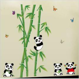 Muursticker met pandabeertjes