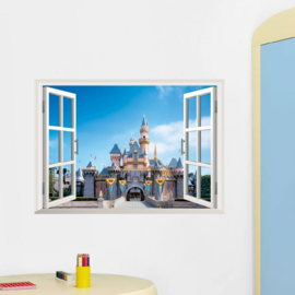 Muursticker raamview Disney kasteel