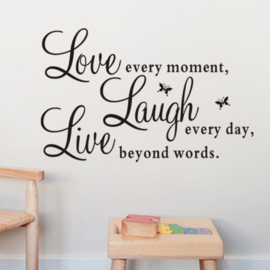 Muursticker Love, Laugh, Live