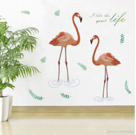 Muursticker flamingo ''I Iike the quiet life''