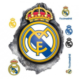 Real Madrid CF muursticker logo in hole 2 stickervellen
