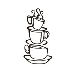 Muursticker gestapelde koffiekopjes