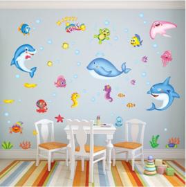Muursticker met diverse zeevissen