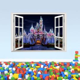 Muursticker raamview sprookjeskasteel