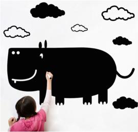 krijtbord muursticker nijlpaard