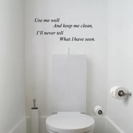 Muursticker WC Use me well