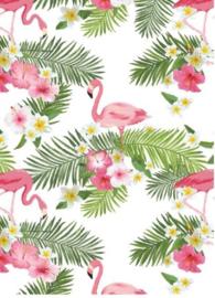 Muursticker flamingo met palmbladeren