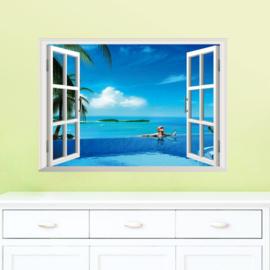 Muursticker raamview zwembad en zee
