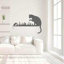Muursticker kat en muis