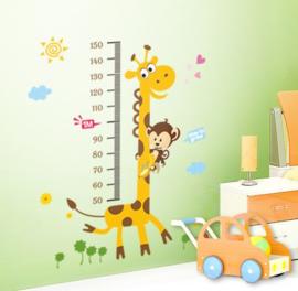 Muursticker groeimeter  giraffe en aapje
