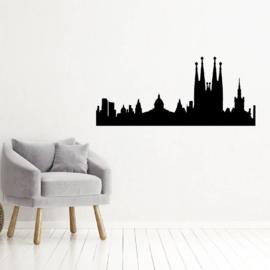 Muursticker skyline Barcelona