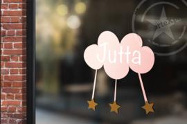 Raamsticker met naam 'wolk met sterren' roze
