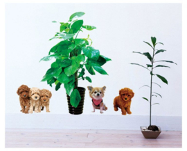Muursticker hondjes met planten