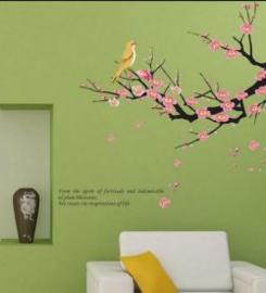 Muursticker met tak, roze bloemetjes en vogel