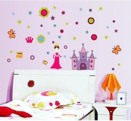 Muursticker prinses met kasteel