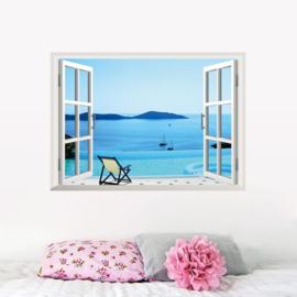 Muursticker raamview zeezicht